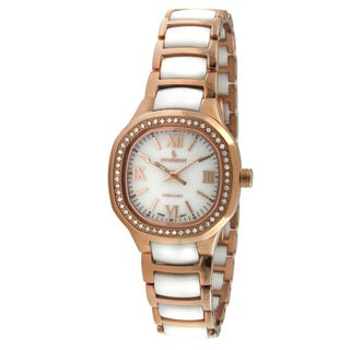 Peugeot Women's Swiss Ceramic White and Rose Goldtone Crystal Watch