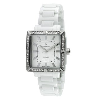 Peugeot Women's PS4903WT Swiss White Crystal Ceramic Watch