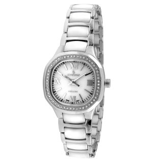Peugeot Women's Swiss Ceramic White Silver Crystal Watch