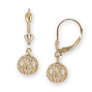 14k Yellow Gold Large Ornate Ball Leverback Earrings