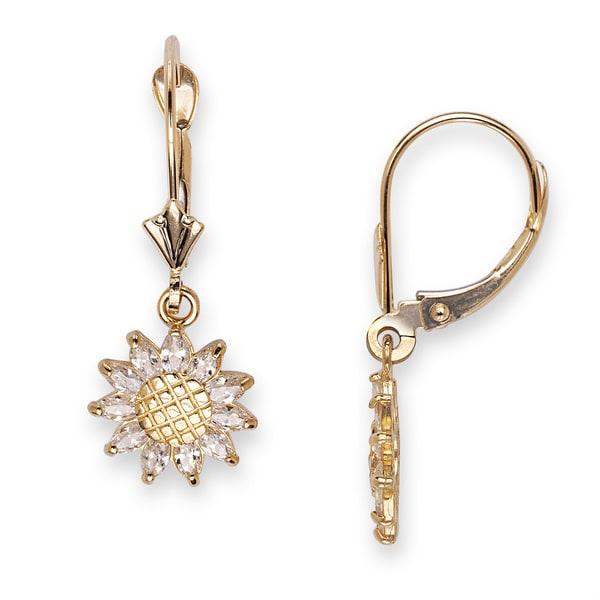 c5a1dc8a4 14k Yellow Gold Cubic Zirconia Sunflower Leverback Dangle Earrings