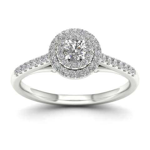 De Couer IGI Certified 10k Gold 1/2ct TDW Diamond Double Halo Engagement Ring - White H-I - White H-I