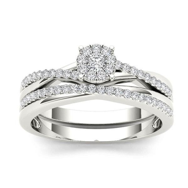 De Couer 10k Gold 1 4ct TDW Diamond Cluster Engagement Ring Set