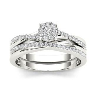 De Couer IGI Certified 10k Gold 1/4ct TDW Diamond Cluster Engagement Ring Set