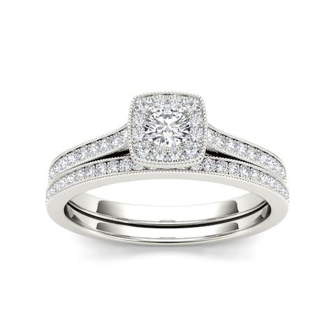 De Couer IGI Certified 10k Gold 1/2ct TDW Diamond Solitaire Bridal Set