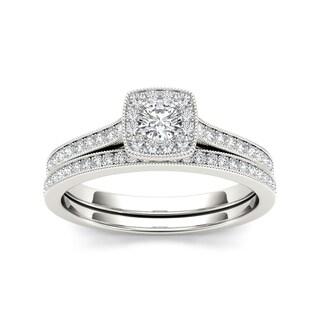 De Couer 10k Gold 1/2ct TDW Diamond Solitaire Bridal Set