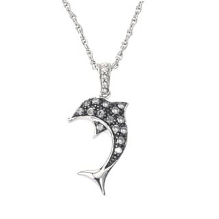 SilverMist Sterling Silver 1/5ct TDW Grey/ White Diamond Dolphin Necklace By Ever One