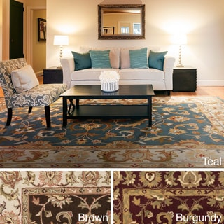 Hand-Tufted Sawyer Traditonal Bordered Wool Rug (5' x 8')