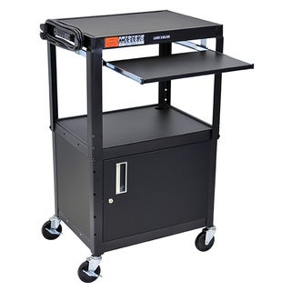 Luxor Black Height Adjustable A/V Cart with Pullout Keyboard Tray and Cabinet