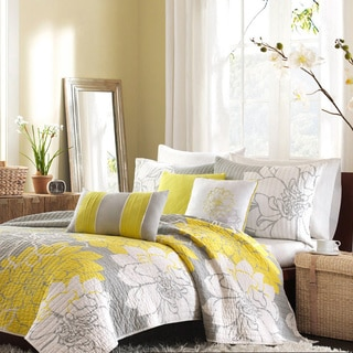 Madison Park Brianna King-size Yellow/ Grey 6-piece Coverlet Set (As Is Item)