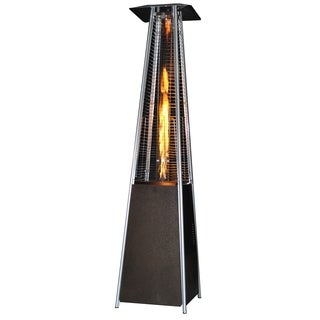 SUNHEAT Contemporary Square Portable Propane Golden Hammered Patio Heater Golden Hammered with Decorative Flame