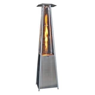 SUNHEAT Contemporary Square Design Portable Propane Patio Heater Stainless Steel with Decorative Flame