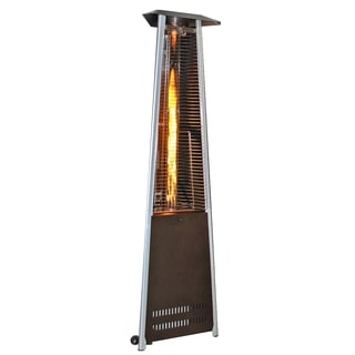 SUNHEAT Contemporary Triangle Design Portable Propane Patio Heater Golden Hammered with Decorative Flame