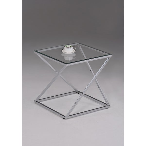 Contemporary Chrome Metal Glass Square End Table Free