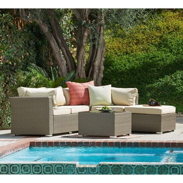 the-Hom Jicaro 5-piece Outdoor Wicker Sectional Sofa Set - 16406869 - Overstock.com Shopping ...