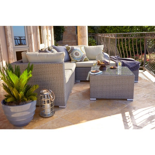 The Hom Jicaro 5 Piece Outdoor Wicker Sectional Sofa Set
