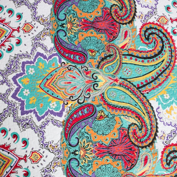 greenland home fashions nirvana paisley cotton 3piece quilt set free shipping today - Greenland Home Fashions