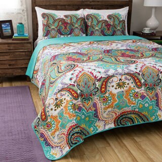 Greenland Home Fashions Nirvana Paisley Cotton 3-piece Quilt Set (5 options available)