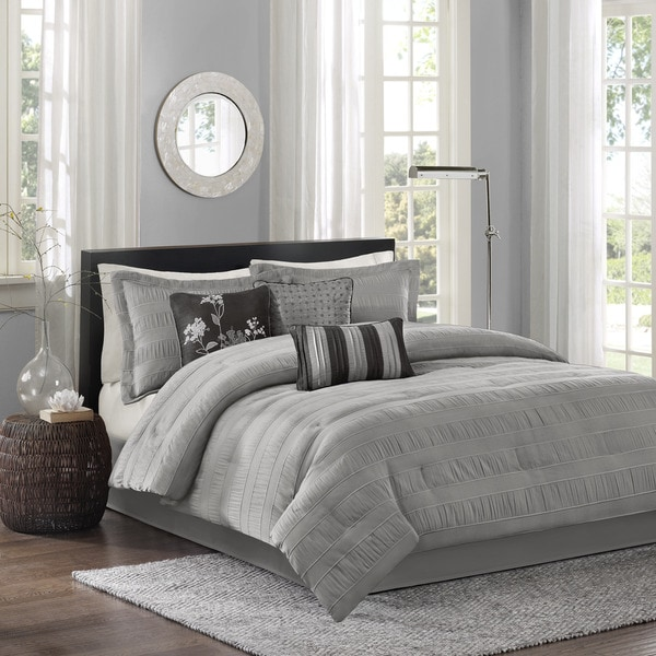 madison park lawrence 7 piece comforter set free shipping today overstock 16406885. Black Bedroom Furniture Sets. Home Design Ideas