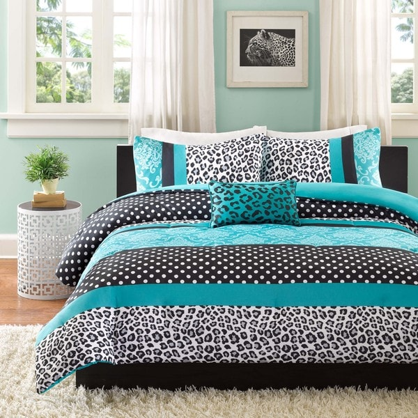 Mi Zone Camille Teal Pieced Animal Print Comforter Set