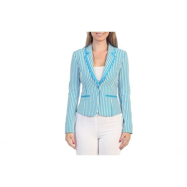Hadari Women's Contemporary Womens Blue Striped Blazer
