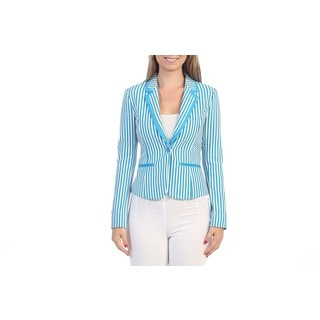 Hadari Women's Contemporary Womens Blue Striped Blazer