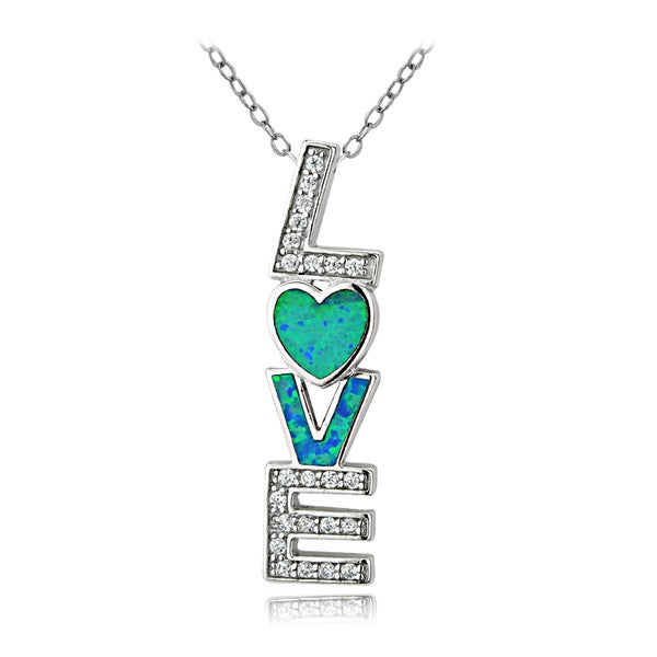 Glitzy Rocks Sterling Silver Created Blue Opal and Cubic Zirconia LOVE Necklace