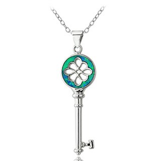 Glitzy Rocks Silvertone Created Blue Opal Key Necklace