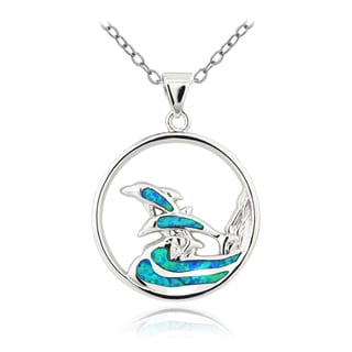 Glitzy Rocks Silvertone Created Blue Opal Swimming Dolphin Necklace