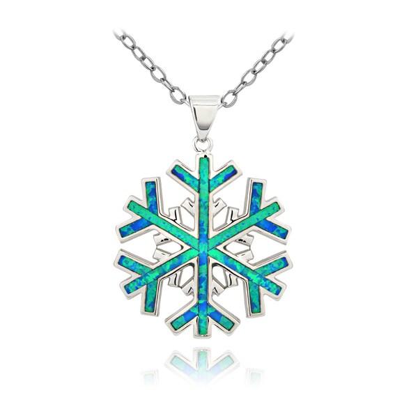 Glitzy Rocks Silvertone Created Blue Opal Snowflake Necklace