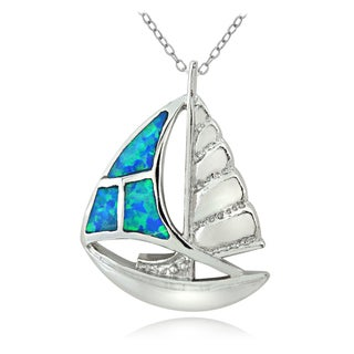 Glitzy Rocks Silvertone Created Blue Opal Sailboat Necklace