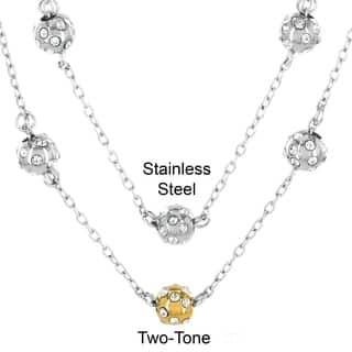 ELYA Stainless Steel and Cubic Zirconia 3 Sphere Necklace|https://ak1.ostkcdn.com/images/products/9241472/P16407754.jpg?impolicy=medium