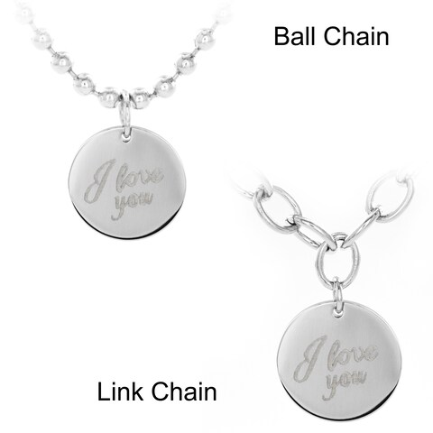 Stainless Steel 'I Love You' Disc Pendant Necklace