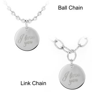 Stainless Steel 'I Love You' Disc Pendant Necklace|https://ak1.ostkcdn.com/images/products/9241473/P16407755.jpg?impolicy=medium