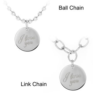 Stainless Steel 'I Love You' Disc Pendant Necklace (2 options available)