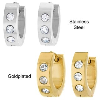 Stainless Steel Cubic Zirconia 13mm Hoop Cuff Earrings