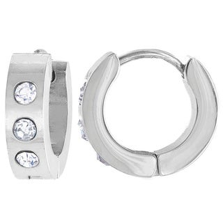 Stainless Steel Cubic Zirconia 13mm Hoop Cuff Earrings