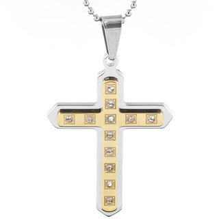 Goldplated Stainless Steel Men's and Cubic Zirconia Layered Cross Pendant Necklace