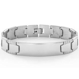 Stainless Steel Men's High Polish Geometric Border Link ID Bracelet