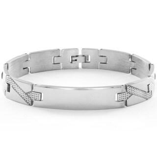 Stainless Steel Men's High Polish Dot Textured Bracelet