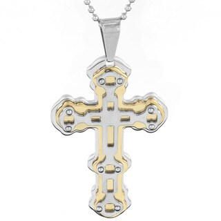 Stainless Steel Men's Graphic Two-tone Layered Cross Pendant Necklace