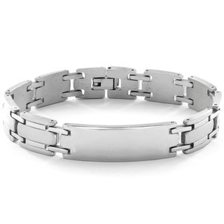Link to Crucible Polished Stainless Steel Hinged ID Link Bracelet Similar Items in Men's Jewelry