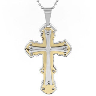 Stainless Steel Men's Two-Tone Triple Layer Studded Cross Pendant Necklace
