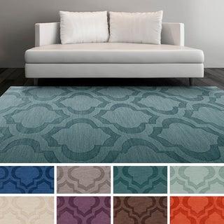 Hand-Woven Ali Tone-on-Tone Moroccan Trellis Wool Rug (6' x 9')