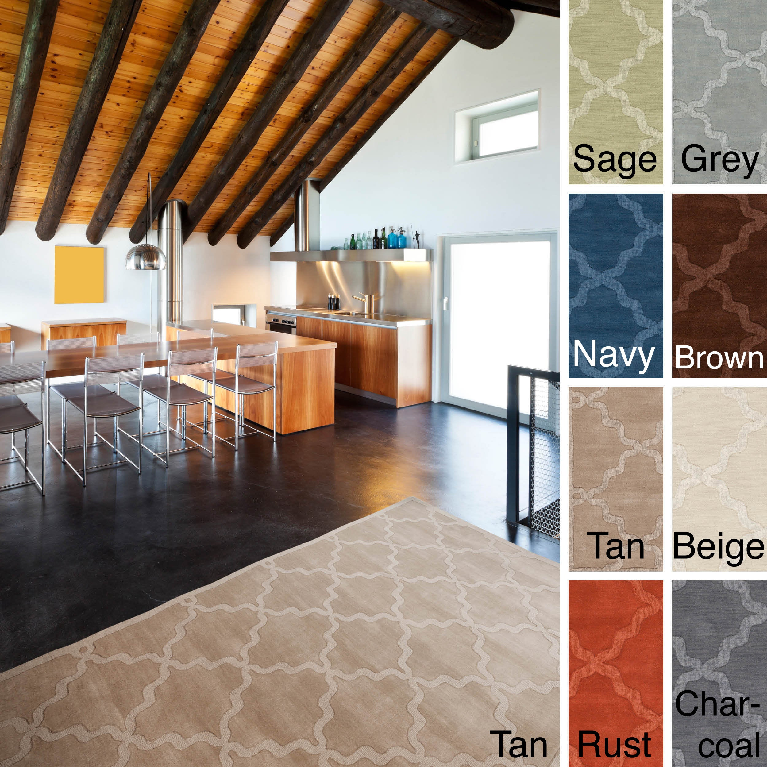 The Gray Barn Margoyles Hand-woven Tone-on-Tone Lattice Wool Rug - 5' x 7'6