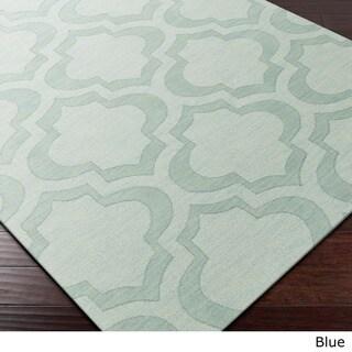 Hand-Woven Ali Tone-on-Tone Moroccan Trellis Wool Rug (5' x 7'6)
