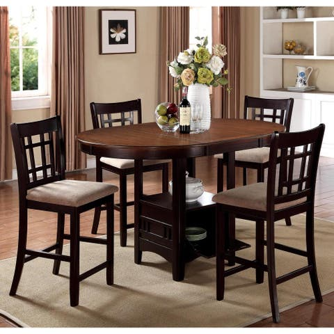Splendor Counter-height Chestnut/ Espresso Dining Set with Storage Base