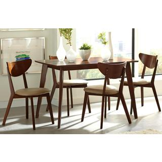 Peony Retro Mid-century Style Chestnut and Leatherette 5-piece Dining Set