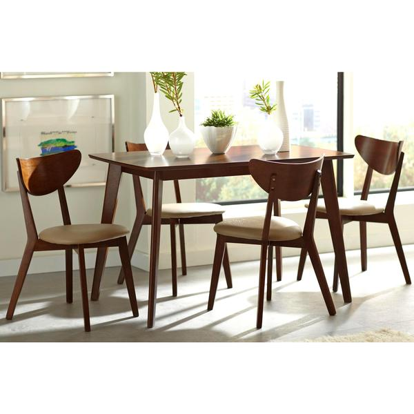 Peony retro mid century style chestnut and leatherette 5 for Retro dinette sets