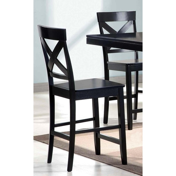 Black Wood X-back Counter-height Dining Stools (Set of 2) - Free ...